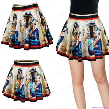 Summer Egyptian Mural MiniSkirts Slim Fit High Waist Women Sports Miniskirt Pleated Exercise Cheerleading Skirts