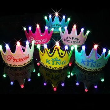 1 pcs Luminous Led Birthday Cap Christmas King Princess Crown Led Birthday Party Decorations Kids Christmas Decorations for Home