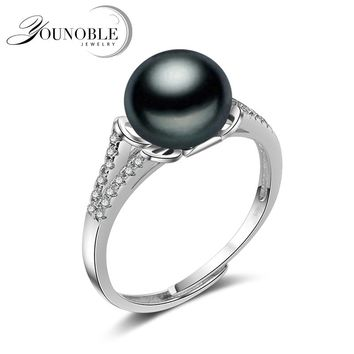Wedding black pearl rings for women,real 925 sterling silver jewelry girls best gift adjustable natural freshwater pearl ring