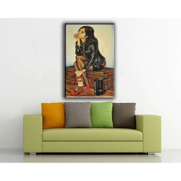 """Oil Painting Print On Canvas  Modern Wall Art Decorative""""The Girl And Hennessy """""""