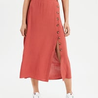 AE Chunky Button Midi Skirt, Red