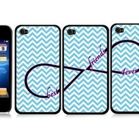 Best Friends Set of 3 Chevron Zig Zag Infinity Friendship BLACK Snap-On Covers Hard Carrying Cases for iPhone 4/4S