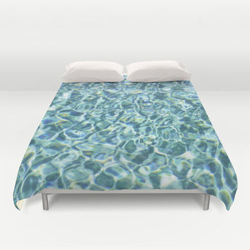 Pool Water - Duvet Cover, Aqua Blue Nautical Style Bedroom Bedding, Beach Surf Decor Boho Chic Bed Blanket Throw Cover. Twin Full Queen King