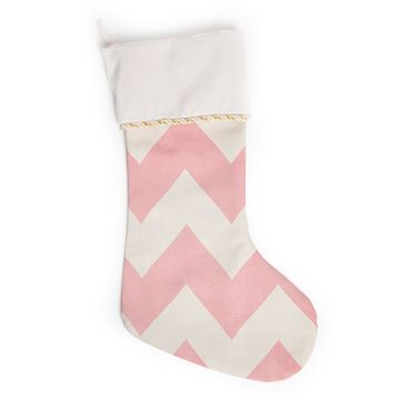 "Catherine McDonald ""Sweet Kisses"" Pink Chevron Christmas Stocking"