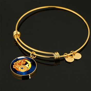 Zodiac Sign Capricorn - 18k Gold Finished Bangle Bracelet