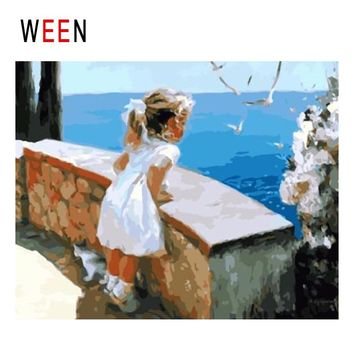 WEEN Girl Watching Ocean Diy Painting By Numbers Abstract Seagull Oil Painting On Canvas Sea Cuadros Decoracion Acrylic Wall Art