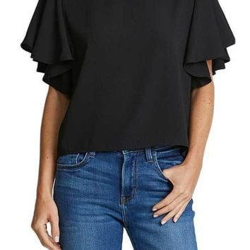 Jack Ruffle Sleeve Short Sleeve Top