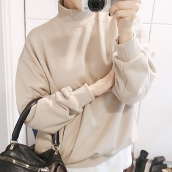 Fashion Autumn Winter Women hoodies sweatshirts Long Sleeve Crop Jumper Suede Pullover Tops Solid color Loose Felpe Tumblr