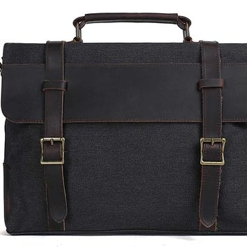 Handmade Waxed Canvas with Leather Briefcase Messenger Bag - Dark Grey