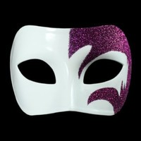Mystic Purple Glitter & White Venetian Masquerade Mask ~ Mardi Gras Prom Party