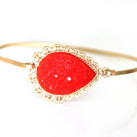 Orange and brass bangle - custom size - limited offer