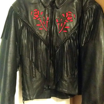 Leather Jacket Women's AL2105 Red Rose Large Black Ladies Motorcycle Biker Coat