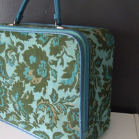 Vintage Carpet Bag Suitcase Aqua Blue Green by stilettogirl