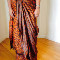 Grey Orange Tussar Gheecha Saree / tussar silk saree with block prints / orange block prints on sarees / tussar saree / gheecha saree