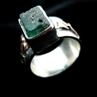 Men's Emerald Ring, Raw Emerald Crystal, Silver and Copper Jewelry