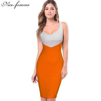 Nice-forever Stylish Patchwork Casual Women Sexy Sleeveless Lateral Zip plus Illusion Sheath Bodycon Pencil Office Dress 743