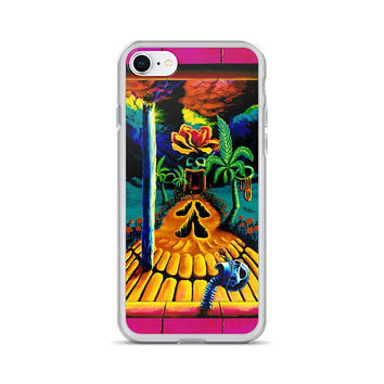 Trippy surreal ALL sizes iPhone Cases Skull Garden Illusions by Vincent Monaco available for ALL iPhone models