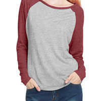 LE3NO PREMIUM Womens Lightweight Raglan Long Sleeve Loose Baseball Tee
