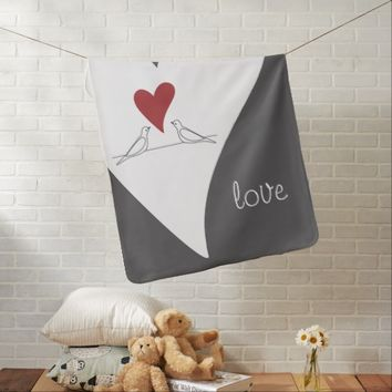 Red Heart Cute White Doves in Love Receiving Blanket