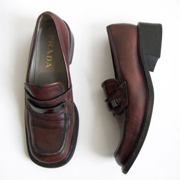 1990s Prada Red-Brown Leather Loafers