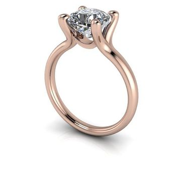 Lab Grown Diamond Cushion Cut Solitaire Engagement Ring