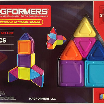 Magformers 40 Pcs Rainbow Opaque Solid Magnetic Construction Set