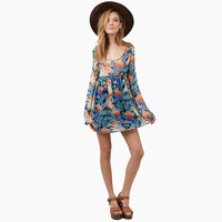 Floral Bell Sleeve High Waist Pleated Mini Dress