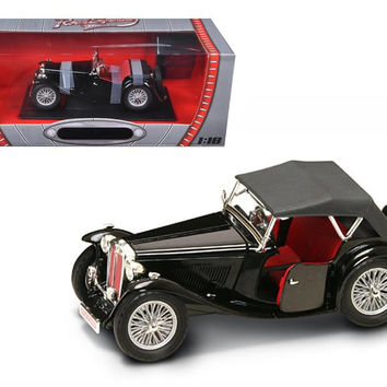 1947 MG TC Midget Black 1-18 Diecast Model Car by Road Signature