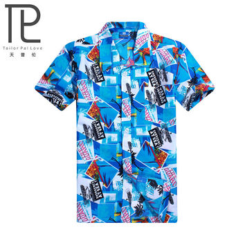 2015 Brand Summer Hawaiian Men Hawaii Beach Shirt,Coconut trees printing Men Short Sleeve Floral Loose Casual Shirts Size L~4XL
