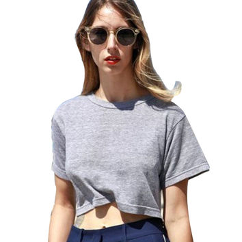 New T-shirts For Women Crop Top Six Colors Sexy Tees Cropped Plus Size Cotton Women's T Shirt Summer Rock Short Sleeve Tops