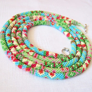 Long Beaded Crochet Rope Necklace - Beadwork - Seed beads jewelry - Elegant - Flower  - Patchwork - Green - Blue - Yellow - Pink - Red