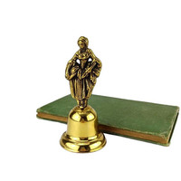 Vintage Brass Bell Lady Figurine Handle
