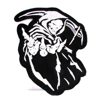 Reaper White on Black Iron on Small Badge Patch for Motorcycle Biker Vest SB1020