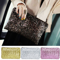 Awesome New Lady Sequins Dazzling Glitter Bling Evening Clutch Bag Handbag L .S