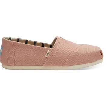 TOMS - Women's Classics Venice Collection Coral Pink Heritage Canvas Slip-Ons