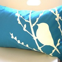 SALE -Teal Bird on Cherry Blossom Pillow