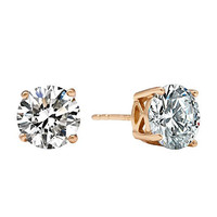 Romantic Time 18k Rose Gold Contracted Dot Shape Diamond Stud Earrings (6mm)