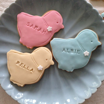 Easter chick biscuits personalised for Easter, pastel pink, green, yellow, blue, spring biscuits, Happy Easter free UK postage