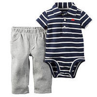 Carter's Boys 2 Piece Navy Striped Polo Bodysuit and Grey Pant Set