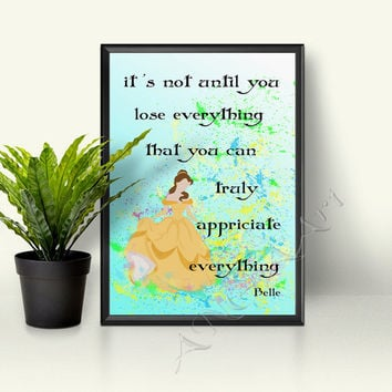 Belle, Walt Disney Princess, Quote, Instant download, Princess Poster, nursery decor, Belle quote, Belle print, gift for girls, room decor