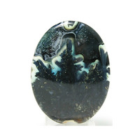 Blue Dendritic Plume Agate Oval Calibrated Cabochon 43.5 carats