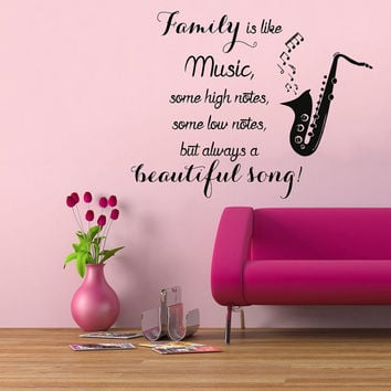 Music Notes Wall Decals Quote Family Is Like Music Beautiful Song Living Room Design Interior Art Vinyl Decal Sticker Bedroom Decor kk840