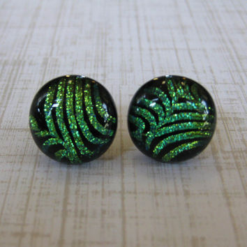Dichroic Green Earrings, Post Earrings, Mothers Day Jewelry, Hypoallergenic, Ear Jewelry - Peyton - 1807 -3