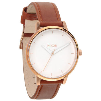 Nixon The Kensington Leather Watch Rose Gold/White One Size For Women 22534938101