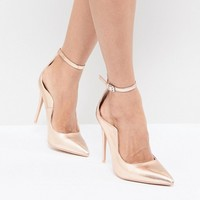 Lost Ink Rose Gold Ankle Strap Pumps at asos.com