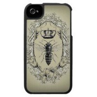 shabbychic Victorian Bee Queen crown Fashion Iphone 4 Cover