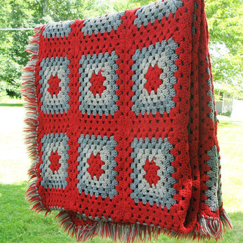 """Vintage crochet afghan blanket throw with burgundy-red and grey gray squares and fringes - Farmhouse decor 78"""" x 48"""""""