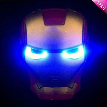 New Hot LED Glowing Superhero Mask for Kid & Adult Avengers Marvel Halloween Iron Man Party Mask Make Up Toy for Kids Light Up