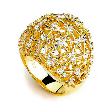 Big Sparkle Dome Pave Cubic Zirconia Ring (14K Yellow Gold) by CZ Sparkle Jewelry®