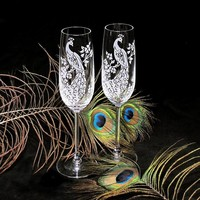 Crystal Champagne Glasses, Bespoke Peacock Wedding Champagne Flutes